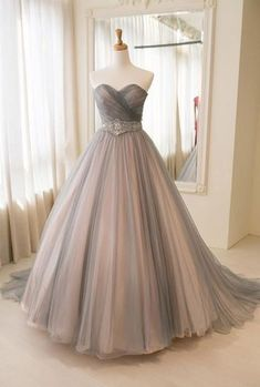 Simple Ball Gown Sweetheart Gray Tulle Prom Dress