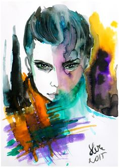 ARTFINDER: In the rainbow by Slvn - Yellow, orange and purple color palette fashion illustration done with watercolor and ink. Beautiful woman face with watercolor splashes. Painting on 200g Ca...
