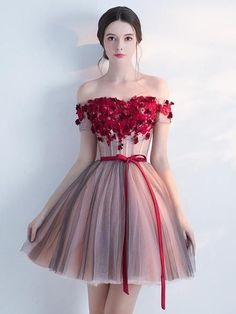 Off Shoulder Red Lace Cheap Short Homecoming Dresses Online, CM692 – SposaDresses Cheap Homecoming Dresses, Tulle Prom Dress, Pageant Dresses, Party Dress, 1950s Dresses, Prom Gowns, Vintage Dresses, Dresses Short, Formal Dresses