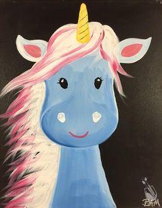 How to paint unicorn - baby unicorn kids camp. Canvas Art Projects, Kids Canvas Art, Unicorn Kids, Unicorn Art, Painting For Kids, Art For Kids, Rock Painting, Painting Canvas, Kids Paint Night