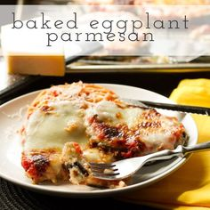 Baked eggplant parmesan eliminates the mess associated with frying eggplant, but with crunchy panko & gooey mozzarella, it doesn't eliminate the flavor! Vegetarian Cooking, Vegetarian Recipes, Cooking Recipes, Healthy Recipes, Baked Eggplant, Eggplant Parmesan, Unique Recipes, Great Recipes, Favorite Recipes