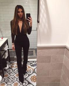 Black Jumpsuit as seen on Negin Mirsalehi. Mode Outfits, Fashion Outfits, Womens Fashion, Fashion Fashion, Fashion Ideas, Textiles Y Moda, Negin Mirsalehi, Looks Chic, Pinterest Fashion