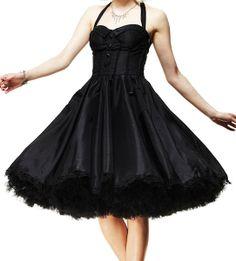dress Ursula Hell Bunny Chiffon blacktaffeta prom formal evening gothic goth emo punk rockabilly psychobilly swing 50s
