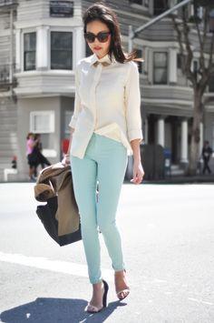 Minty green J Brand jeans