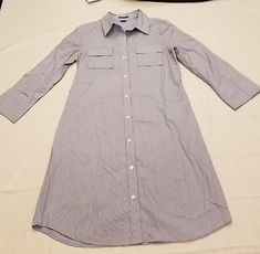 Theory size 10 Womens Blue White Collar Pinstripe Belted Shirtdress Long Sleeves