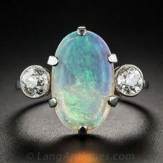 rubies.work/… Vintage English Opal and Diamond Ring Circa 1940s