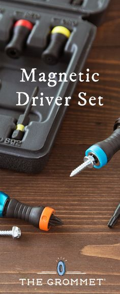 Free up a hand and make using a screwdriver (or drill) easier. These rubberized driver heads are magnetic to attract screws—and hold them steady.