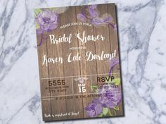 Country Chic Wedding Shower Invite Purple Peony Flowers https://www.etsy.com/listing/278777982/purple-country-chic-wedding-shower