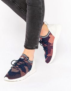 378043ab7 Image 1 of adidas Originals Pink Print Primeknit Zx Flux Sneakers Pink  Adidas Shoes