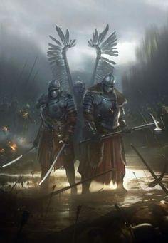 Winged Hussars by Piotr Krezelewski Fantasy Warrior, Medieval Fantasy, Dark Fantasy, Fantasy Dwarf, Armadura Medieval, Bild Tattoos, Knight Armor, Armor Concept, Warhammer Fantasy