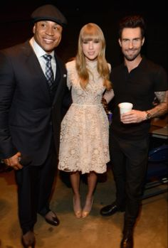 """LL Cool J, Taylor Swift and Maroon 5's Adam Levine backstage at """"The GRAMMY Nominations Concert Live!! — Countdown To Music's Biggest Night"""" on Dec. 5 in Nashville #TheWorldIsListening    Photo: Larry Busacca / WireImage.com"""