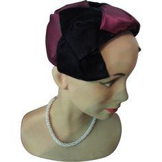 Half Hat in Midnight Blue Velvet and Iridescent Plum Velvet Mid-Century