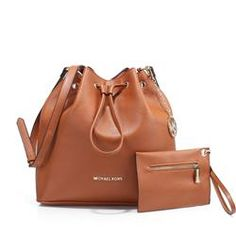 Michael Kors Jules Drawstring Leather Medium Brown Shoulder Bags