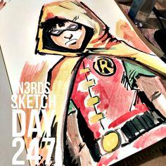 """Robin"" #robin #youngjustice #teentitans #comics #watercolor #dccomics #dcuniverse#sketchaday #artlove #penandink #nerds #sketchbook #sketch_daily #artnerd #acompanyofn3rds #dopeart #imayneednewglasses  #art_boost #n3rds #blerds #geeks #illustration #camu #moleskine #arts_help #artists_community  #Iamanartist"
