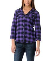 Empyre Girl Conifer Purple Buffalo Plaid Hooded Flannel Shirt Zumiez. This is really cute, and it's BOGO 50% off. :)