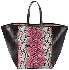 Clava Leather Page Snakeskin Tote Pink