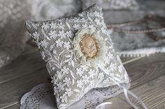 Camafeo Vintage boda anillo portador almohada