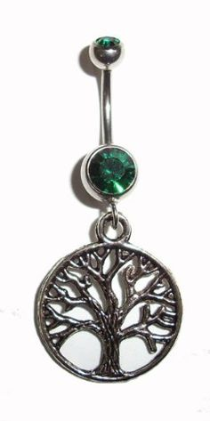 Body Accentz Belly Button Ring Navel Life Tree 316L Surgical Steel 14g