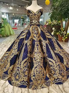 Royal Blue Sequins Gold Appliques Off The Shoulder Floor Length Wedding Dress - Kleider - Gold wedding gowns Quinceanera Dresses, Prom Dresses, Formal Dresses, Wedding Dresses, Wedding Lace, Trendy Wedding, Casual Dresses, Long Dresses, Chic Wedding