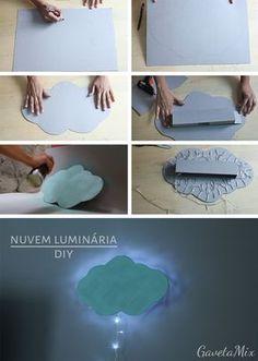 Luminária de parede em formato de nuvem super fácil de fazer