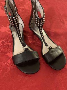 0d18b7c0ada4 Michael Kors Sandals 5.5 Studded Black Silver Studs Women Girls Ankle Wrap   fashion  clothing