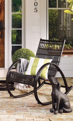 Chill out and rock with this brilliantly unique piece for outdoor living; our personality-rich Woodstock Rocker. Outdoor Rugs, Outdoor Spaces, Outdoor Living, Outdoor Furniture, Outdoor Decor, Ceramic Lantern, Home Board, Al Fresco Dining, Sunrooms