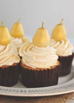 Marzipan & Pear Cupcakes with Caramel Buttercream......pears are part of fall, no?