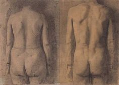 "bblacha: "" Fair use of low resolution image for an article on the artist Antonio Lopez Garcia. Two Backs (Male-Females), pencil on paper, x by Antonio Lopez Garcia, """