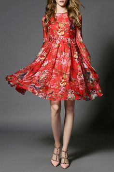 6f83240c72 Vicky and Lucas - Owl Printed Chiffon Dress in Red Print Chiffon