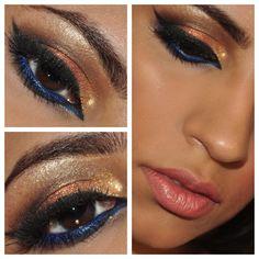 imma use this.next wedding I attend Gold Eye Makeup, Bronze Makeup, Gold Eyeshadow, Natural Eye Makeup, Kiss Makeup, Prom Makeup, Wedding Makeup, Beauty Makeup, Hair Makeup