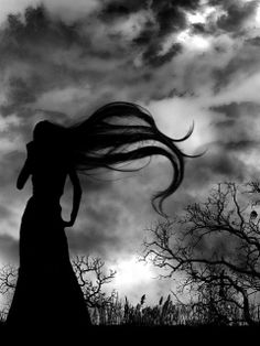 silhouette - a siren with hair blowing in wind? - keep back - black and white - Art Noir, Dark And Twisted, Foto Art, Gothic Art, Dark Beauty, Belle Photo, Dark Art, Black And White Photography, Monochrome Photography