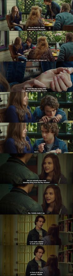 If I Stay, bee sting scene.  My absolute favorite line from this movie!