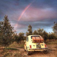 La Fiat 500 vintage dans son écrin de Toscane. Joli arc en ciel. Siena With@instatouritalia@mytour_tuscanyexperts@aroundsiena@igerssiena@igerstoscana #my500instatour#mytours#aroundsiena#igerssiena#igerstoscana#igersitalia direct de Instagram http://ift.tt/1srfgla