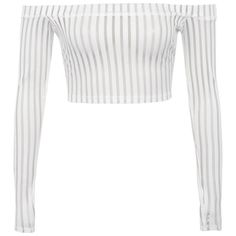 'Devoted' White Striped Mesh Off Shoulder Top - Mistress Rocks ($42) ❤ liked on Polyvore featuring tops, off the shoulder long sleeve top, striped off-the-shoulder tops, long sleeve crop top, off shoulder tops and white top