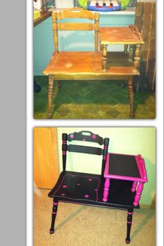 Gossip bench refinished for a girls room, chalkboard on the top of the table part.
