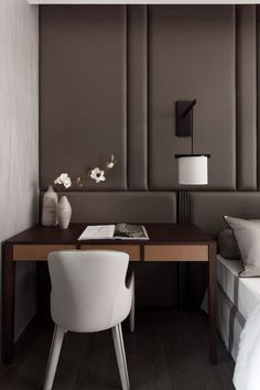 The Claudia - Panelled headboard, wall to wall and (almost) floor to ceiling. Sound absorbing, modern and warm solution to a headboard. Go to www.ciaraeloise.com for your quote.