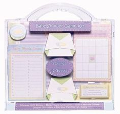 Nicely packaged Deluxe Baby Shower Game Kit includes 5 games with enough pieces for 12 guests.  Games include:  Baby Words Game, Baby Shower Gift Bingo, Dirty Diaper Surprise, Baby Care Charades, and Pin The Pacifier on Baby.  The 49 piece kit includes enough pices for 12 guests.