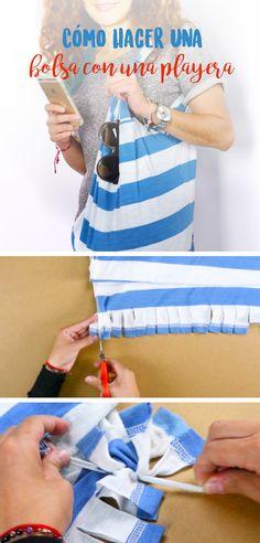 Si tienes una playera en casa que ya no utilices, la puedes reciclar y crear una bolsa espectacular, solo necesitas tijeras y una playera para crear esta divertida bolsa. ¡Que esperas para intentar!
