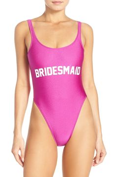 A retro-inspired swimsuit sits high above your hips to elongate your legs and features an open back with a cheeky bottom for a flirty finish. A fun gift for your bridesmaids, or for your tropical bachelorette party!