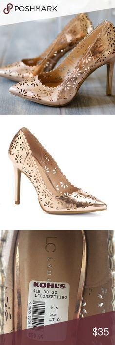 NEW Lauren Conrad Rose Gold Metallic Floral Heels Rose Gold Floral Heels, Never worn, brand new soles, reasonable offers will be considered LC Lauren Conrad Shoes Heels