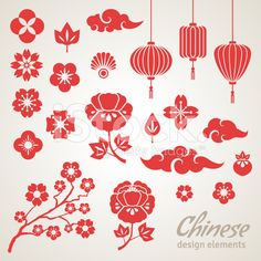 Chinese Decorative Icons - Clouds, Flowers and Chinese Lights. lanterns Chinese Decorative Icons - Clouds, Flowers and Chinese Lights. Chinese Icon, Chinese Art, Design Chinois, Lantern Drawing, Chinese Lights, Impression Textile, Chinese Paper Cutting, Chinese Flowers, Chinese Patterns