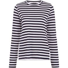 Clu Navy & White Striped Lace Panel Top (13,675 PHP) ❤ liked on Polyvore featuring tops, lace top, crew neck tops, long sleeve jersey, embroidered lace top and long sleeve jersey top