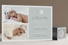 Petite Elefant Foil-Pressed Birth Announcement Cards by Emily Ranneby at minted.com $2.03