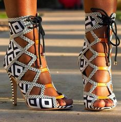 Geometric zebra strappy high heels 2015 trendy white and black