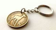 Estonian Coin keychain Deer keychain Mens accessory by CoinStories