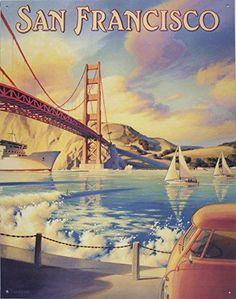 Golden Gate Bridge Tin Sign 13 x 16in