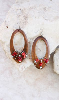 Red + Brown Wooden Wire Wrapped Earrings