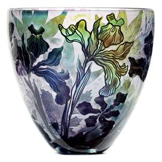 Dragonfly & Iris vase JH Studio Glass