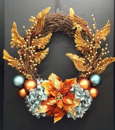 Faux Holiday 2014 Season Grapevine wreath: blood orange wire glitter poinsettia, powder blue jeweled hydrangeas, orange and powder blue ornament balls, gold berry picks and baroque copper decorative picks. Original design and arrangement by http://nfmdesign.synthasite.com/