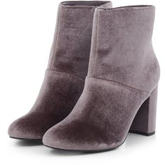 Wide Fit Grey Velvet Block Heel Ankle Boots (€1) ❤ liked on Polyvore featuring shoes, boots, ankle booties, grey boots, gray boots, short boots, gray ankle boots and bootie boots